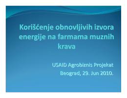 Koriscenje obnovljivih izvora energije na farmama