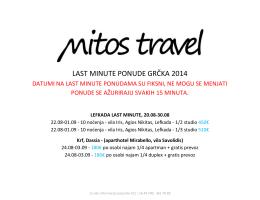 LAST MINUTE PONUDE GRČKA 2014