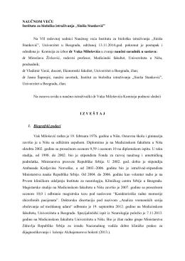 """NAUČNOM VEĆU - Institut za Biološka Istraživanja """"Siniša Stanković"""""""