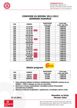 cenovnik za sezonu 2011/2012 semenski kukuruz