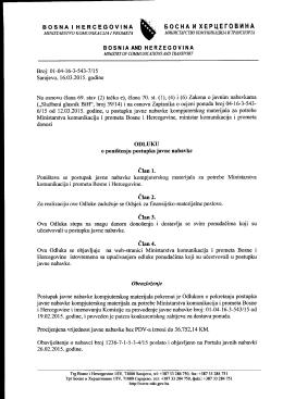Odluka o poništenju postupka javne nabavke kompjuterskog