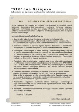 Politika kvalitete laboratorija pdf