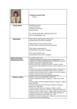 dr Radmila Paunović Štajn Docent Kontakt detalji Tel: +381 (0) 34