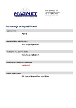 Parametri za mail klijente