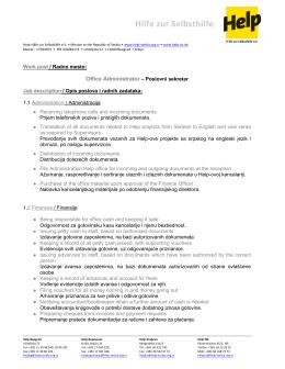 Opis poslova - Help – Hilfe zur Selbsthilfe eV Misija u Republici Srbiji