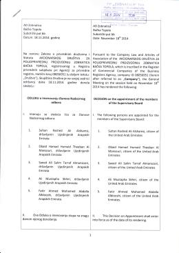 Odluka o imenovanju članova Nadzornog odbora