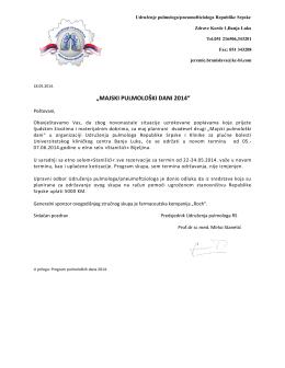 """""""MAJSKI PULMOLOŠKI DANI 2014"""""""