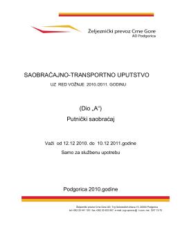 Putniĉki saobraćaj - Željeznički prevoz Crne Gore