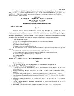 Predlog odluke o izmenama i dopunama osnivačkog akta
