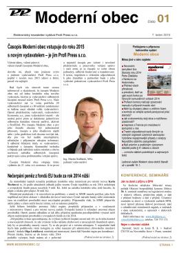 Newsletter č. 1 měsíčníku Moderní obec z 7.1.2015