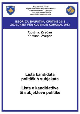 Lista kandidata političkih subjekata Lista e kandidatëve të