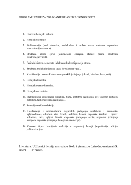 Literatura: Udžbenici hemije za srednju školu i gimnaziju (prirodno