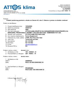 Podatci poslovnog partnera u skadu sa članom 42