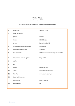ipsum doo podaci za identifikaciju poslovnog partnera