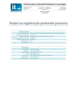 Podaci za registraciju poslovnih partnera