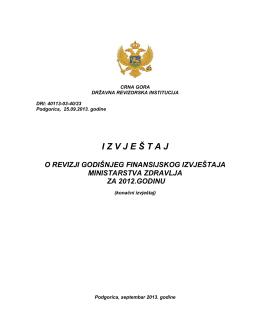 Izvještaj o revizji Godišnjeg finansijskog izvještaja Ministarstva