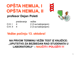 OPŠTA HEMIJA, I OPŠTA HEMIJA, II profesor Dejan Poleti