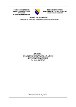 Analiza vanjskotrgovinske razmjene Bosne i Hercegovine za period