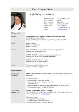 Curriculum Vitae Julija Batogova