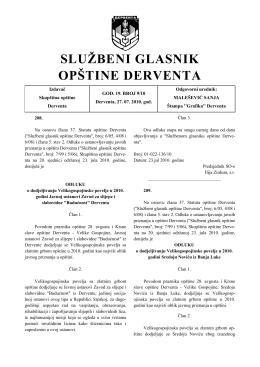 """""""Službeni glasnik opštine Derventa"""", broj: 9/10"""