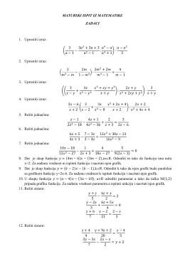 MATURSKI ISPIT IZ MATEMATIKE ZADACI 1. Uprostiti izraz: ( 3 − 1