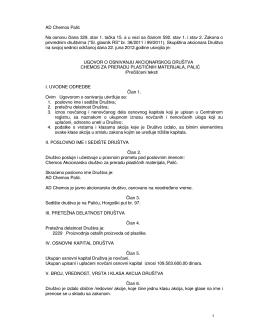 Ugovor o osnivanju AD Chemos Palić
