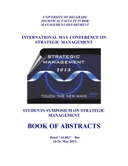 BOOK OF ABSTRACTS - Serbian Journal of Management