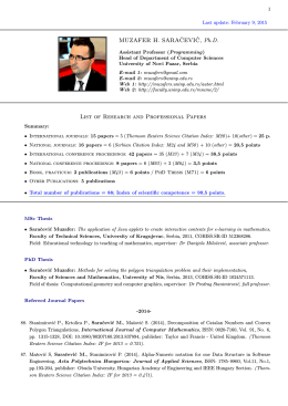 kompletan spisak naučnih i stručnih publikacija, projekata i recenzija