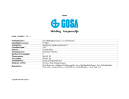 Teaser BASIC COMPANY DATA: Full legal name : Goša Holding