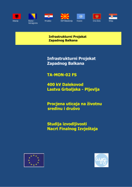 Infrastrukturni Projekat Zapadnog Balkana TA-MON-02 FS