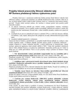 Projekty řešené pracovníky Stínové vědecké rady NP Šumava