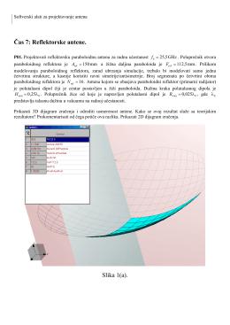 Čas 7: Reflektorske antene. Slika 1(a).