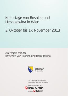 Kulturtage von Bosnien und Herzegowina in Wien 2. Oktober bis 17