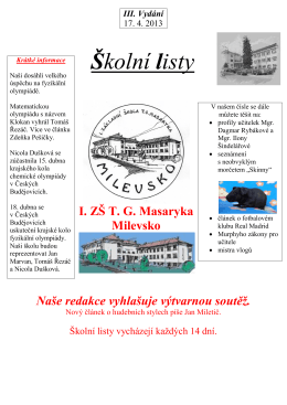 zde - 1.Základní škola T.G.Masaryka Milevsko