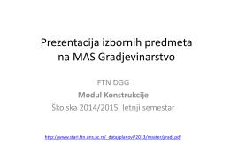 Master studije - Departman za građevinarstvo i geodeziju