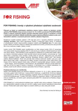 FOR FISHING: trendy v rybaření představí rybářské osobnosti