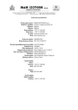 Lična karta M&M Izoterm