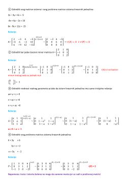 ① Odrediti rang matrice sistema i rang proširene