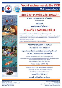 Kurz plavčík/záchranář 2015 - Vodní záchranná služba Praha 6