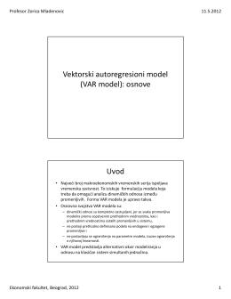 Vektorski autoregresioni model (VAR model): osnove Uvod