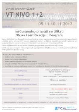 "VT NIVO 1+2 - Institut ""Kirilo Savić"""