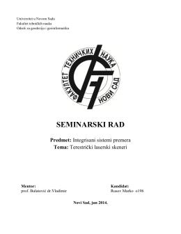 Seminarski rad o196 Terestricki laserski skener..