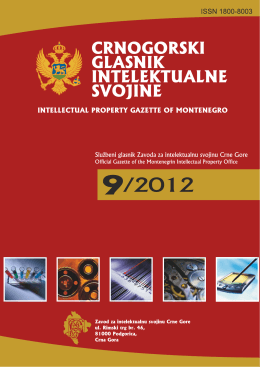 Glasnik 9.indb - Zavod za intelektualnu svojinu Crne Gore