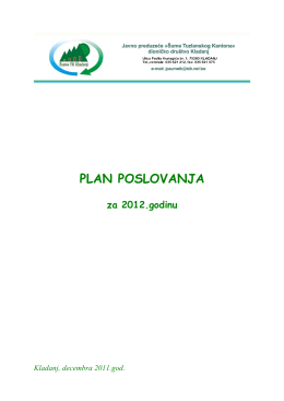 Plan poslovanja za 2012. godinu