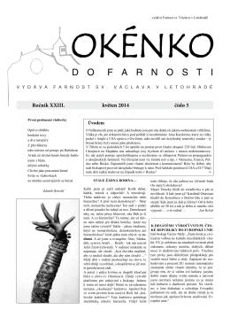 Okénko do farnosti 5/2014 (formát pdf) - Farnost Letohrad