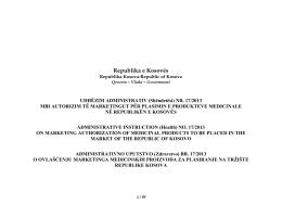 Nr. 17/2013 - Agjencia e Kosovës për Produkte Medicinale