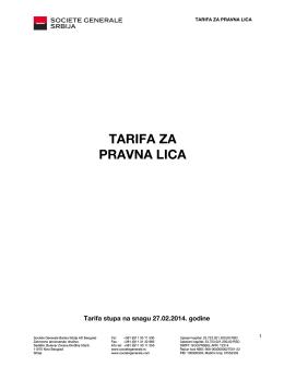 TARIFA ZA PRAVNA LICA - Societe Generale Srbija