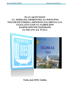 Plan aktivnosti - Solana d.d. Tuzla
