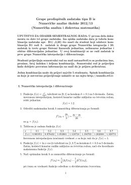 Grupe predispitnih zadataka tipa B iz Numericke analize školske