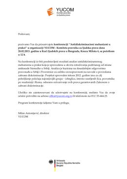 Pozivno pismo za konferenciju Antidiskriminacioni mehanizmi u praksi